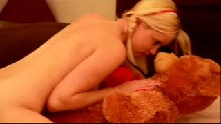 Sensual-Blonde-Tease-with-Teddy-Bear-&-Dildo