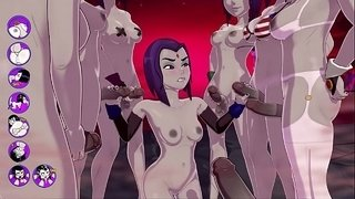 Raven-gets-a-TERRIFIC-bukkake,-Fucks-and-Cums-With-A-Group-Of-Futas---sexgame