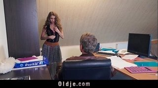 Sexy-young-secretary-blackmails-her-old-boss-for-dirty-fuck-facial