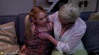 Blonde-mature-eating-a-hot-teen-pussy