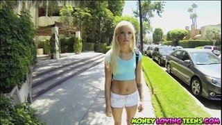 Smoking-hot-petite-teen-Halle-Von-bangs-a-guy-from-school-for-money