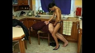 Russian-Brunette-fucking-with-strapon-in-the-kitchen---part-2