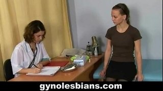 Lesbian-gynecologist-seduces-her-young-patient-during-gyno-check