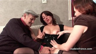 FFM-Two-french-brunette-sharing-an-old-man-cock-of-Papy-Voyeur
